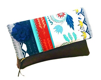 Woven Willow Path Leather Foldover Clutch Bag, Evening Bag, Women's Blue Clutch Purse