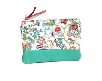 Paisley Leather Coin Purse, Coin Wallet, Small Leather Pouch, Change Purse, Small Women's Wallet