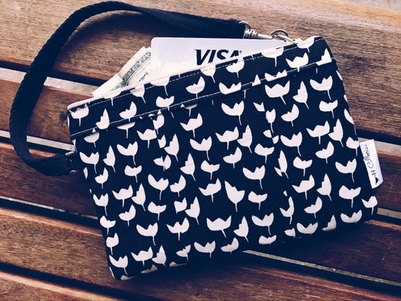 Floral Black Wristlet, Small Wallet Wristlet, iPhone Wristlet, Zipper Wallet, Fabric Wallet