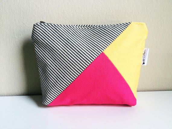 Canvas Pouch, Makeup Bag, Canvas Makeup Bag, Zipper Pouch, Pink Pouch, Cosmetic Bag, Toiletry Bag for Women