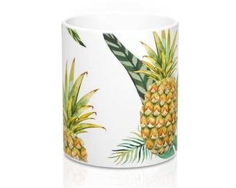 Pineapple Coffee Mug, Coffee Mug, Stainless Steel Travel Mug, Ceramic Mug, Travel Mug, Beach Coffee Mug, Coffee Cup. Tropical Mug