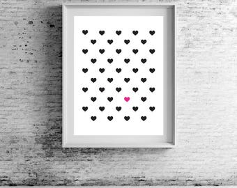 Pink Heart - Instant Download Digital Print - Multiple Sizes - Wall Art - Valentines Day - Black and Pink - Printable