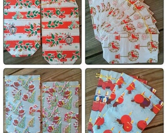 Vintage 1960s Gift Bags Christmas Holiday Wrapping Paper 21 CT 2016420