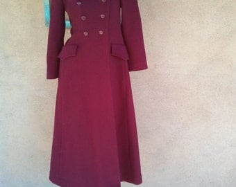 Vintage 1960s Coat Red Wool Military Cardin Style Small US2 4
