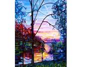 ciel de chalet lac lever de soleil, silhouette d'arbre bleu rose de matin, grand signée Fine Art giclée Print de ma peinture originale - l'éveil