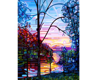 cottage lake sunrise sky, morning pink blue tree silhouette, Large Signed Fine Art Giclee Print from my Original Painting - Awakening