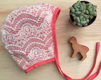 Little Cove Bonnet, Baby Bonnet, Brimless Bonnet, Baby Shower Gift, Brimless Baby Bonnet, Red Bonnet, Lace Bonnet, Red Lace Bonnet,  Baby