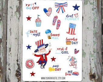 4th of July Bullet Journal Stickers  - Independence Day - Summer - Patriotic - Planner Stickers -TN - midori - deco - bujo