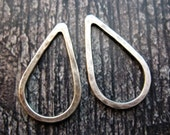 Hammered Antiqued Sterling Silver Teardrop Links - 1 pair - 20mm - 16 Gauge Soldered Links