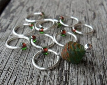 Medium Snag Free Knitting Stitch Markers Silver Green Red Glass Bead Fits Needles Up To 6.5mm