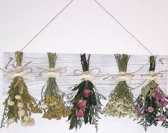 dried flower rack with flowers, farmhouse decor, country decor, primitive decor, dried flowers, kitchen wall hanging