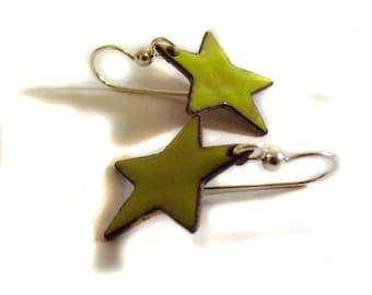 stars - chartreuse lime green enamel earrings