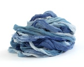 Handdyed chiffon silk ribbon recycled 10metres, High Tide ocean royal blue riverside, textile arts