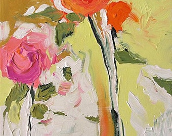 Acrylic Abstract Floral Painting Giclee Print Made To Order Pink Orange Roses Impressionist Fine Art Print Wall Decor by Linda Monfort