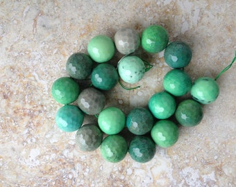 Chrysoprase beads, large, round faceted, green and beige