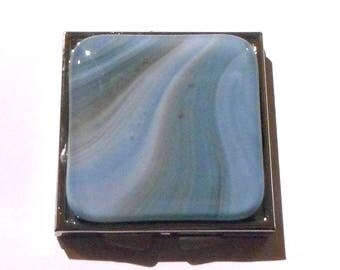 Double Mirror Compact, Blue, Gray and White Streaked Fused Glass, Handmade Women's Accessories, Purse Accessories