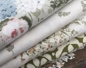 FLASH SALE- Reclaimed Pillowcase Fabric-Dreamy Florals-Green Meadow Fabric-