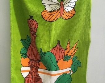 SALE- Vintage Tea Towel-BrightGreen-Butterfly-Veggies and Fruit