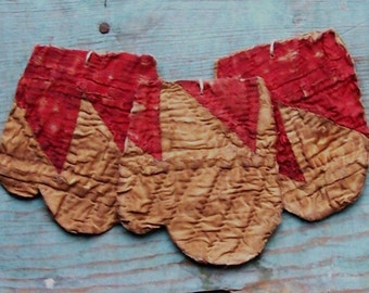 3 Mitten Ornaments, Primitive Ornaments, Antique Quilt Farmhouse Christmas Decor, Tattered Ornaments, Red & White - CHRISTMAS IN JULY Sale