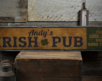 Irish Pub Shamrock Wood Sign, Good Luck & Good Times Custom Bar Owner Name Decor Gift - Rustic Hand Made Vintage Wooden Sign ENS1001672