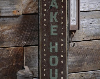 Family Lake House Sign, Vertical Lake House Decor, Custom Wood Sign for Lake Lover Gift, Rustic HandMade Vintage Wooden Sign ENS1001851