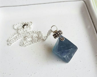 Antarctica pendant necklace - blue green fluorite nugget, sterling silver