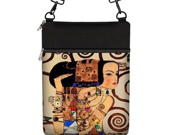 Women's laptop bag 13 inch laptop sleeve w/ strap laptop case 13.3 macbook pro case Surface Book zipper pocket Expectations Klimt fabric MTO