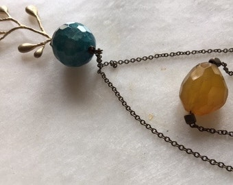 Boho Necklace with blue and yellow stones, Layered necklace, Gemstone Necklace, Long Necklace