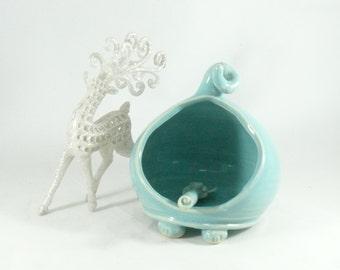 Ceramic Salt Box, Blue french salt pig -  sugar bowl with spoon - salt holder - Handmade Ceramic  Salt Cellar  - Salt Dish -  home chef