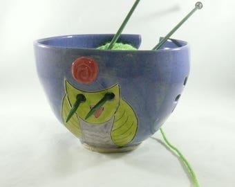 Handmade Yarn Bowl with Owl  Ceramic Knitting Organizer 717
