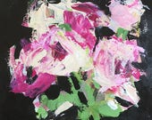 spring flowers original flower painting on art paper 9x12 contemporary art design abstract floral pink and black