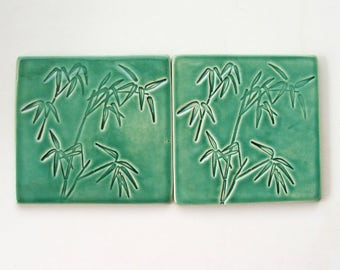 Ceramic Coasters, Set of Two, 100% Handmade, Bamboo