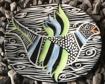 Mod Porcelain Bird ring dish tea tray
