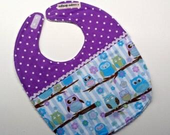 Baby Bib-Baby Girl Bib-Pastel Owls-Baby Gift-Toddler Bib-Baby Shower Gift