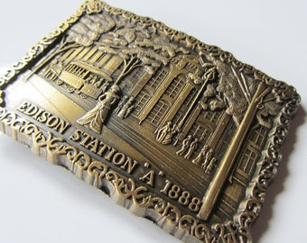 Vintage Edison Station 1888 Belt Buckle - 1970's