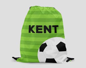 Soccer Drawstring Backpack - Green Stripes with Soccer Ball - Personalized Bag - Sports Bag