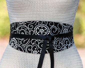 REVERSIBLE Leather and Fabric Obi Wrap Sash Belt - Black + White Mosaic - XS S M L XL Plus & Petite Size - wide cinch belt - custom made