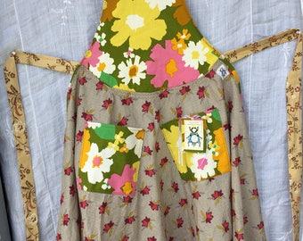 Apron wearable Art Vintage Twirl and Swirl OOAK