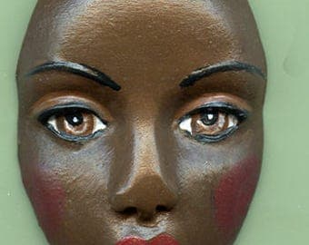 Polymer Clay  Face - Larger 3 Inch  detailed with brown eyes, red lip, , shadow LGBR 2