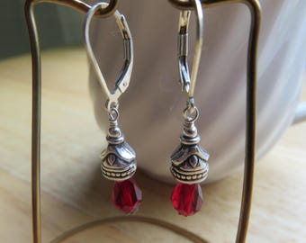 Dangling Sterling silver and Red Swarovski