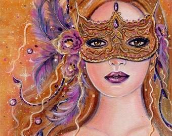 Masquerade  woman wearing a mask portrait floral print fantasy art by Renee L. Lavoie