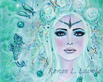 Issiana seahorses Mermaid  underwater magical ocean  print MRMD by Renee L. Lavoie