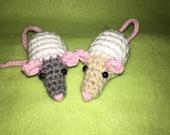 2 Custom Hooded Rat Ornaments, Gray, Tan