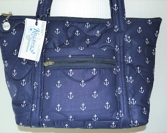 Quilted Fabric Handbag Blue with White Anchors