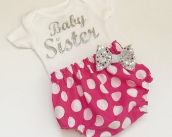 Baby sister OUTFIT... hot pink polka dots diaper cover and sparkle silver baby sister onesie set... new baby