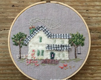custom house portrait : hoopart * embroidered house or cottage or cabin or barn