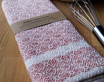 Rust Red Orange Chef's Towel Handwoven Susatinable Cotton Organic Cottolin