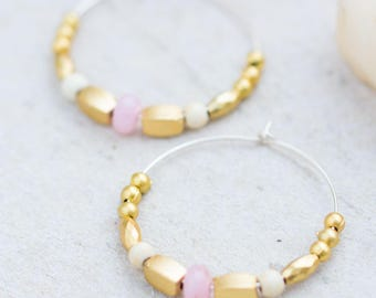 Blush Earrings, Pink Blush Hoops, Silver Hoops, Blush Pink Earrings, Large Hoops Earrings, Rose Quartz Earrings, Silver and Gold Hoops, Gift