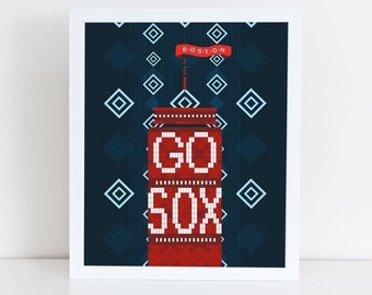 Go Sox! Boston Red Sox Prudential Lights Poster - Night