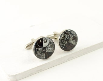Recycled Circuit Board Cufflinks Brown, Computer Gift, Information Technology, Upcycled, Mens Geeky Cuff Links, Geeky Gift, Technology Gift